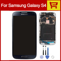 Wholesale Free DHL For Samsung Galaxy S4 LCD i9500 I337 I545 I9502 I9505 E300K E300S Original Assembly Display Screen Digitizer Replacement with Frame