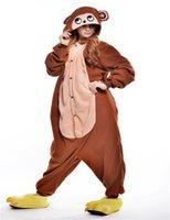 adult monkey onesie - 2016 Hottest Popular Cosplay Coffee monkey Pajama No Shoes Pajamas Hooded Conjoined Sleepwear Costumes Adult Unisex Onesie Soft Sleepwear