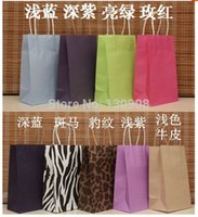 Cheap Free Shipping recycle gift bag, printed kraft paper shopping bags with handles Size 13*8*21cm