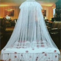 Cheap Wholesale-Single door Room Lace Bed Mosquito Netting Insect Fly Bed Curtain Mesh Canopy Princess Round Dome Bedding Net for students