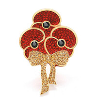 beautiful poppies - 2 Inch Beautiful Red Rhinestone Crystal Diamante British Bouquet Crystal Tri Poppy Flower Brooch Remembrance Day Pins