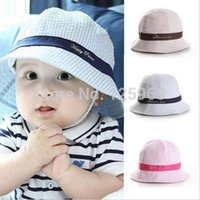 Wholesale New Unisex Baby Kids Boys Girls Striped Bucket Hats Sun Beach Caps Colors