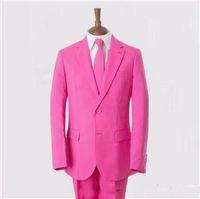 achat en gros de bouton roses-2016 Robes de soirée roses faites sur commande de mariages de nounours de deux boutons Le costume de partie de bal d'expédition libre d'expédition (veste + pantalon + lien)