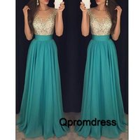 beautiful modest prom dresses - Beautiful Green Chiffon Long Prom Dresses Modest Illusion Neck Beaded A Line Dresses Party Evening
