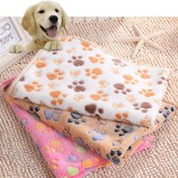 Wholesale 3 Colors size Pets Soft Warm Fleece Blanket Mat Cover for Pet Puppy Dog Cat Paw Print Handcrafted DOG S home