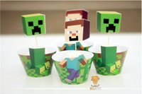 cupcake toppers - Minecraft paper cupcake wrappers and toppers set kids party birthday shower supplies minecraft cupcake toppers baby shower decors
