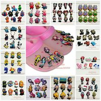 Wholesale lager Kids PVC Shoe Charms Fit Jibbitz pvc Shoe Accessories for Wristband Bracelets shoe with holes Kids Gifts