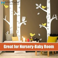 baby art projects - 3 Big Birch Tree Large Wall Decal Wall Sticker Owl Birds Project Nursery Featured Baby Nursery Vinyls for home mural wallpaper