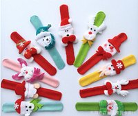 Wholesale Christmas Gift Xmas Santa Claus Snowman Toy Slap Pat Circle Bracelet Wristhand Christma Tree Decoration Funny Hand Toys Muti Color B1B3F8