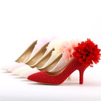 beautiful wedding toasts - The New Beautiful Flowers Pearls Wedding Shoes Pointed Toe Ladies Dress Shoes Faddish Banquet Toast Shoes