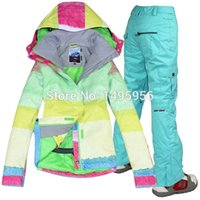 Wholesale new Combination women s ski suit best quality mixed color beatiful jacket pants Waterproof breathable ski suit
