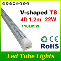 Cheap T8 V-shaped 4ft 22W T8 Led Tube Light SMD2835 Double Sides 192LEDs Lamp Fluorescent Tubes Replacement Warm Natural Cool White DHL