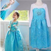 Cheap Frozen Princess Dresses With Cape Girls Elsa Lace Dress Babies Clothes Long Sleeve Costume Kids Children Clothing Factory Pricef