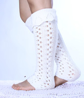 arrival booty - New arrival Women Solid long thick leg warmers Knitted Boot Cuffs Toppers Boot Socks Crochet booty Gaiters pairs