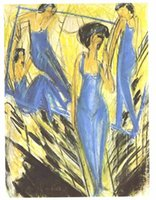 artist dresses - Ernst Ludwig Kirchner s oil painting for Study Room custom size Blue dressed artists hand painted on linen