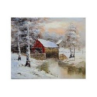 barn drawings - Covered Bridge Barn Farm New England Snow Landscape X24 Frameless draw Oil Painting