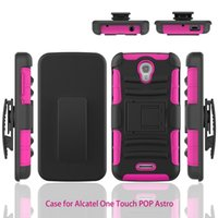 astro covers - 300pcs Dual Layer Heavy Duty Rugged Armor Hybrid Kickstand Case For Alcatel onetouch Pop Astro T Cover Skin With Stand Shockproof