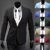 Wholesale 8 Color New Fashion Men Casual Suit Stylish fit One Buttons Business Dress Jacket Office Overcoat Classic Suit For Men Quality