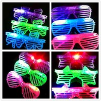 Wholesale HOT LED Light Glasses Flashing Shutters Shape Glasses Flash Glasses Sunglasses Dances Party Supplies Festival Decoration D603