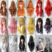 Wholesale beautiful lady Synthetic Wigs Europe and America cm multicolor Cos anime long curly hair wig