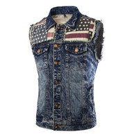 Wholesale Fall Classic Mens Causal Vest Skulls Button Designs Blue Denim Sleeveless Jackets Male Brand Clothing Mens Waistcoat Jeans Vests