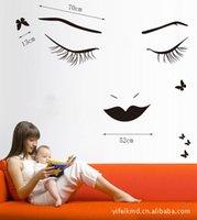 art eyelashes - bedroom decoration sofa background wall stickers bedroom background decoration sticker PVC wall stickers XY1082 big eyelashes