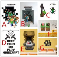 Wholesale 50pcs styles in stock D Walls Minecraft Wall Stickers Creeper Decorative Wall Decal Cartoon Wallpaper Kids Party Decoration Christmas