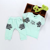 apparel for kids baby - Casual Baby Boys Clothing Shorts Summer Cartoon Sets The Tiger Letter Korean Clothing Set Kid Apparel T shirt Pants Suits for Children