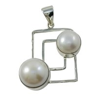 affordable necklace - Rectangle Vintage Double Pearl Charm Unadjustable Best Silve Pendant for Silver Necklace Affordable Silver Charm N1227