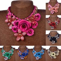 acrylic flower necklace - 2015 sexy Fashion Flower Crystal Bib Statement Necklaces flowers Chain Charm Choker Collar Pendant with rhinestone