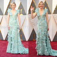 beautiful oscar dresses - Beautiful D Flowers Mermaid Mint Green Evening Dresses Cate Blanchett Oscars Gorgeous Celebrity Dresses Deep V neck