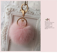 ball earrings gold plated - Real Rabbit Fur Quality Soft Fur Ball lovely gold Metal Key Chains Ball Pom Poms Plush Keychain Car Keyring Bag Earrings Accessories