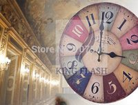 Wholesale 2014 New Arriavls Rustic Colorful Wooden Vingtage Wall Clock Retro clock For Living Room SV006826