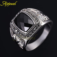 Cheap 010 Brand new cool men's jewelry fashion big stone rings star design cz black crystal ring for men 2014