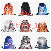 Wholesale 100PCS LJJH937 design Escolar Backpack Harajuku Drawstring Bag Galaxy D Printing Travel Softback Mochila Unisex Backpack Minina