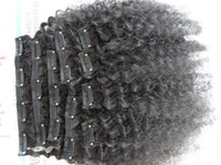 virgin brazilian hair clip in - Clip In Extension Kinky Curly Human Hair Weaves Afro Deep Curly Brazilian Virgin Hair Clip Ins A Brazilian Curly Clip on Hair Wefts