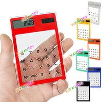 Wholesale Ultra Thin Compact Transparent Touch Screen Solar Calculator Counter Calculating Tool Kit YSN