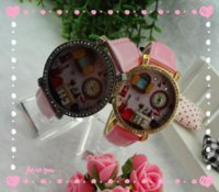 Wholesale 2014 New Fashion Cute warm Japan Polymer Clay Handmade Luxury Crystal children rhinestone Wristwatches furniture D Watch with factory price