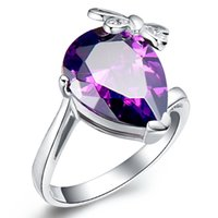 gemstone jewelry - Cone Rotary Table Butterfly Purple Cz Diamond Ring Created Gemstone Jewelry Red Crystal Anillos Mujer Bijoux Engagement Women Rings J132