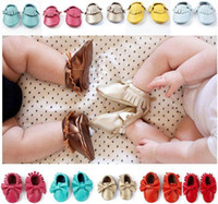 baby shoe wholesale - Fedex UPS Free Ship New Leather baby moccasins baby tassel moccs girls bow moccs Top Layer leather moccs fringe baby shoes