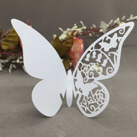 Wholesale 50 Pretty White Butterfly Delicate Place Cards Excellent Seat Card Romantic Wine Glass Decoration Cards for Party Wedding H16122