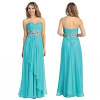 Cheap New Aqua Blue Chiffon Long Prom Gowns 2015 Crystal Beads Sweetheart Sleeveless Dresses Party Evening Zipper Backless Ruched Floor-Length