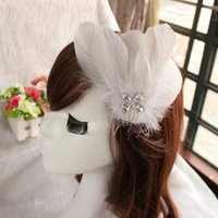 act costume - Brides act the role ofing is tasted stage headdress flower ostrich feather fairy retro red hairpin costume hair white feathers