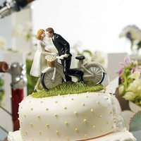 bicycle wedding cake - New Bicycle Kissing Bride Groom Wedding Cake Topper Decoration CupCake Topper Resign Figurine Craft Souvenir New Wedding Favors Topper