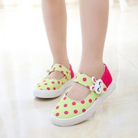Wholesale J G Chen Spring Autumn Summer Girls Sneakers Canvas Shoes For Children Cute Dots With Rabbit Buckle Kids Shoes Candy Color