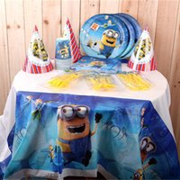 Wholesale Party Decoration Minions holiday party Set Wallpapers hat towels cup plate cutlery Event Party Supplies Baby Birthday Party Pack