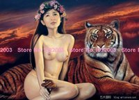 Cheap Fashion naked women and tiger diy diamond painting Mosaic Cross Stitch Square Diamond Wall Picture Painting Resin NW0066
