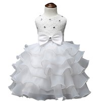 baby christening wear - 2016 Baby Christening Girl Dress Kids Ruffles Lace Dresses For Girls Princess Tutu Dress For Wedding Party Events Wear Girls