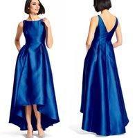 2016 nuevo de la celebridad del vestido de noche azul del desgaste alto-bajo vestidos de fiesta de satén para las mujeres cuello de la joya sin mangas larga alfombra roja del vestido formal Vestidos