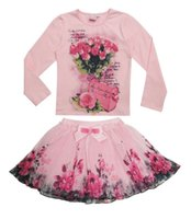 boutique clothing - New Fashion Boutique Outfits Sets For Cute Kids Girl Print Floral Long Sleeve Shirts Tops Tutu Skirts With Bow Clothes